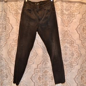 Seven7 Faded Black Distressed Jeans, Size 12